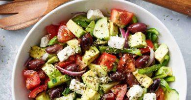 Avocado Greek Salad and Greek Salad Dressing